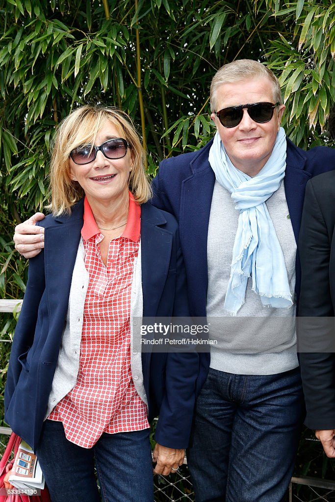 Marie-Anne Chazel and Christophe Millant attend the 2016 French Tennis Open - Day Three at Roland Garros on May 24, 2016 in Paris, France.