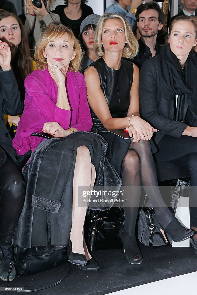 Marie-Anne Chazel (L) and Sylvie Tellier, President of Miss France Committee, attend the Jitrois Fall/Winter 2013 Ready-to-Wear show as part of Paris Fashion Week on March 6, 2013 in Paris, France.