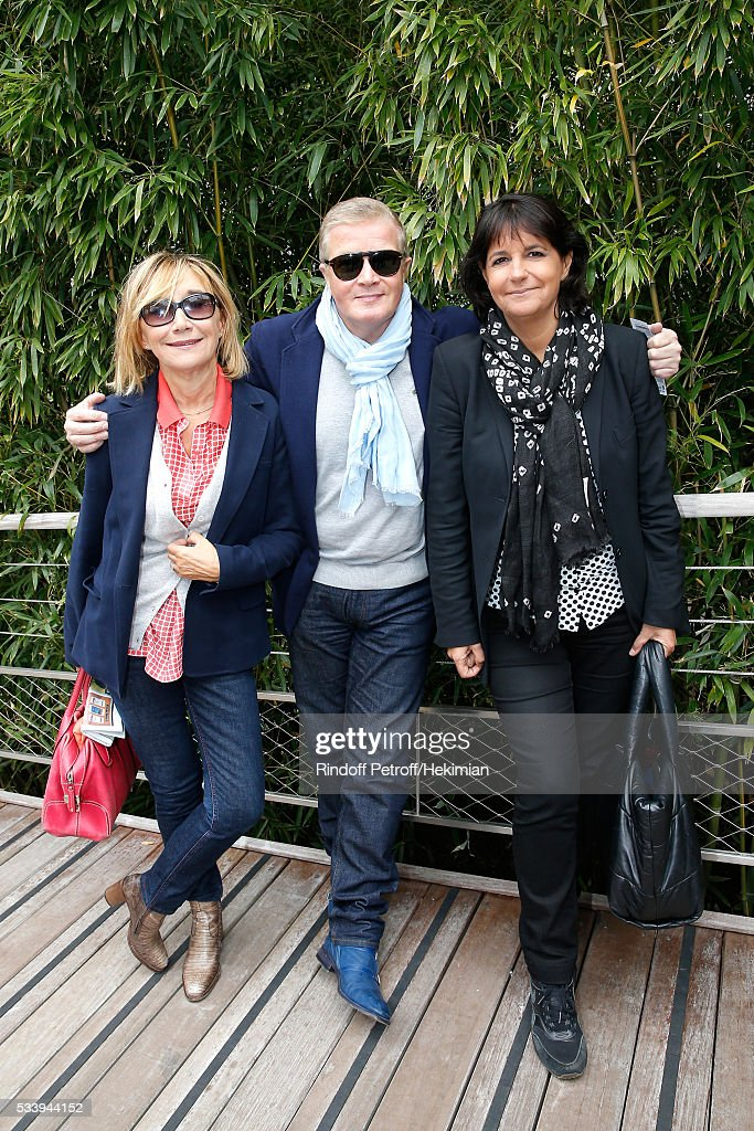Marie-Anne Chazel, Christophe Millant and Valerie Expert attend the 2016 French Tennis Open - Day Three at Roland Garros on May 24, 2016 in Paris, France.