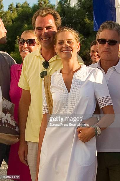 MarieBlanche Brillembourg Prince Nikolaos Tatiana Blatnik and Atilio Brillembourg on August 24 2010 in Spetses Greece
