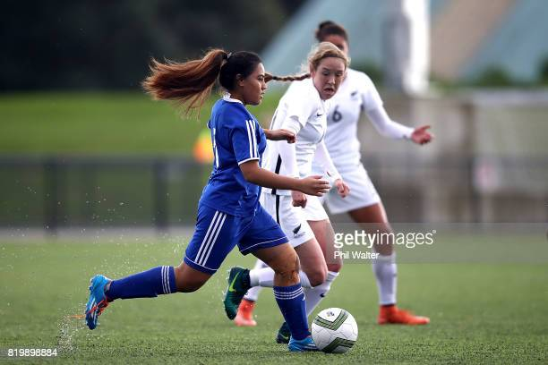 Mariecamilla Ah Ki of Samoa in action during the Oceania U19 Womens Championship match between New Zealand and Samoa at Ngahue Reserve on July 21...