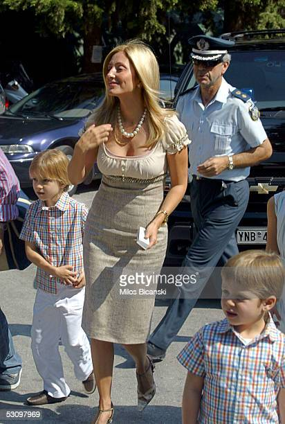 MarieChantal ConstantineAlexios AchilleasAndreas arrive for the christening service at the monastery of Agios Ioannis of Kareas June 18 2005 in...