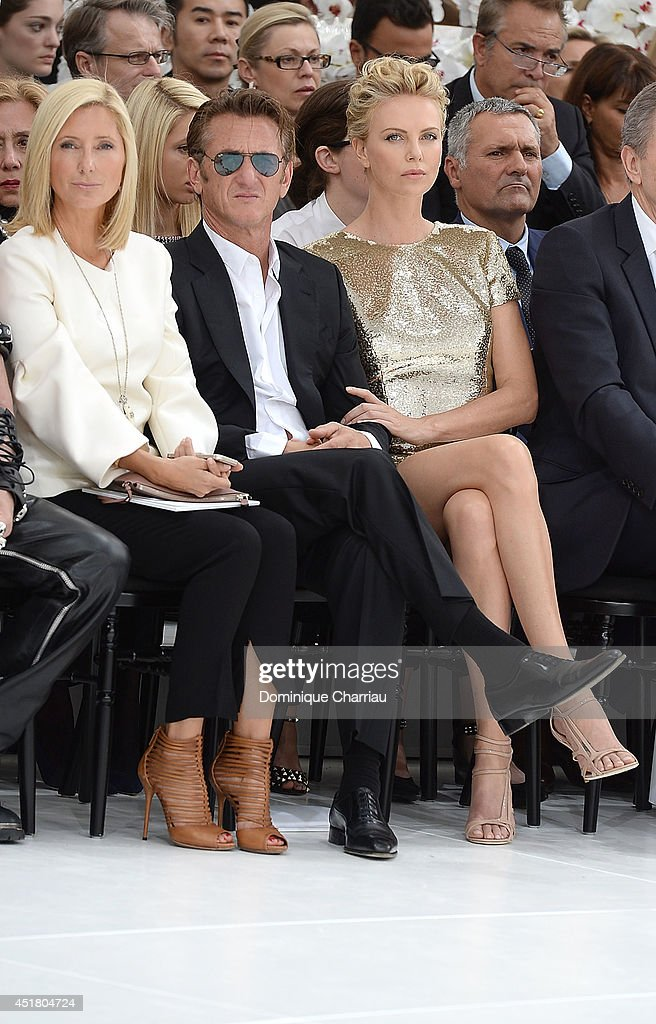 Marie-Chantal, Crown Princess of Greece, <a gi-track='captionPersonalityLinkClicked' href=/galleries/search?phrase=Sean+Penn&family=editorial&specificpeople=202979 ng-click='$event.stopPropagation()'>Sean Penn</a> and <a gi-track='captionPersonalityLinkClicked' href=/galleries/search?phrase=Charlize+Theron&family=editorial&specificpeople=171250 ng-click='$event.stopPropagation()'>Charlize Theron</a> attend the Christian Dior show as part of Paris Fashion Week - Haute Couture Fall/Winter 2014-2015 on July 7, 2014 in Paris, France.