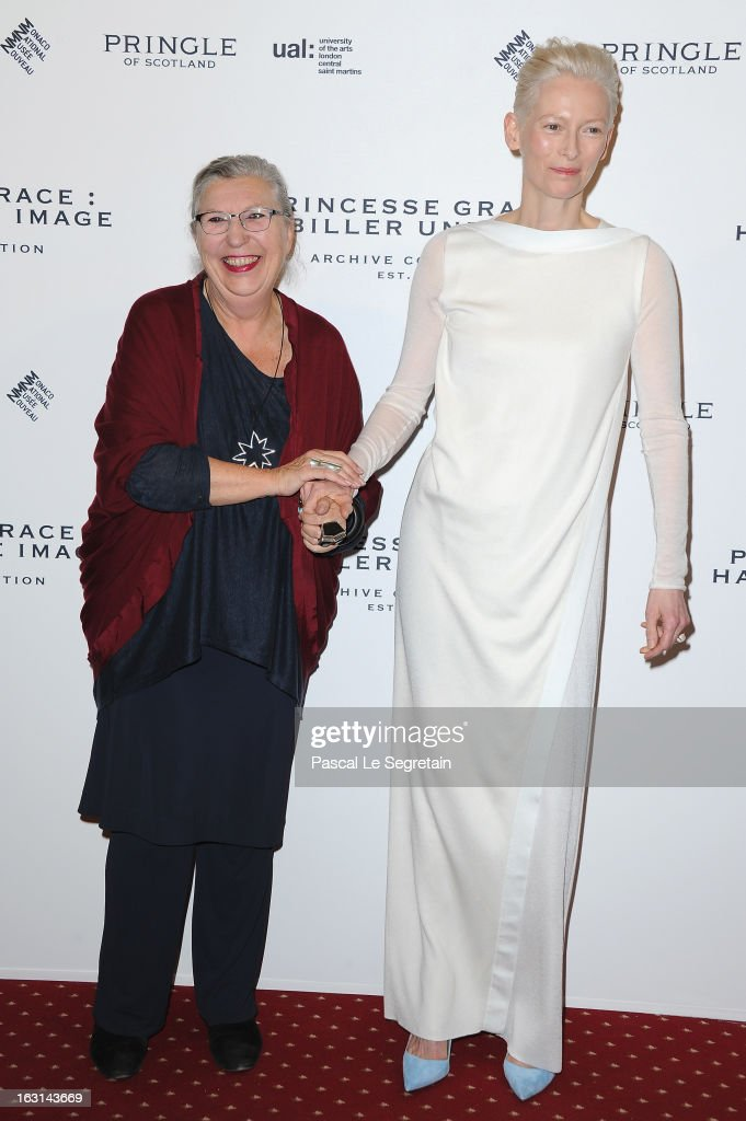 Marie-Claude Beaud and <a gi-track='captionPersonalityLinkClicked' href=/galleries/search?phrase=Tilda+Swinton&family=editorial&specificpeople=202991 ng-click='$event.stopPropagation()'>Tilda Swinton</a> attend the Pringle Of Scotland Archive Collection Presentation as part of Paris Fashion Week at Salon France-Ameriques on March 5, 2013 in Paris, France.