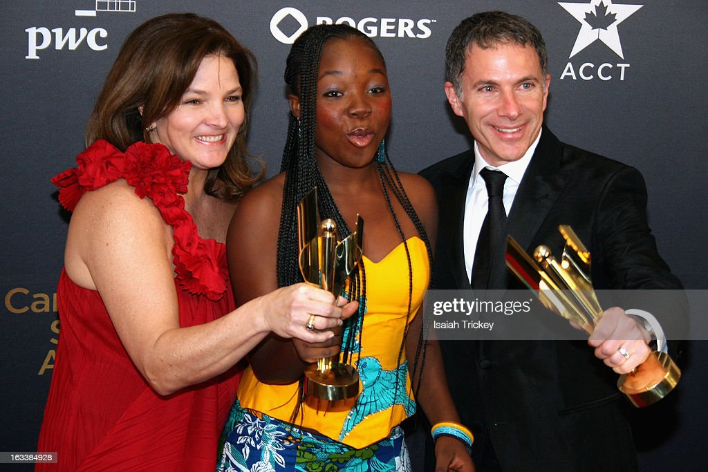 Marie-Claude Poulin, <a gi-track='captionPersonalityLinkClicked' href=/galleries/search?phrase=Rachel+Mwanza&family=editorial&specificpeople=8913984 ng-click='$event.stopPropagation()'>Rachel Mwanza</a> and Pierre Even, winners of the Best Motion Picture, at the 2013 Canadian Screen Awards at Sony Centre for the Performing Arts on March 3, 2013 in Toronto, Canada.