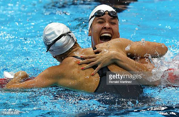 Marieen Veldhuis of Netherlands congratulates Ranomi Kromowidjojo of Netherlands on winning the Women's 50m Freestyle Final on Day 8 of the London...