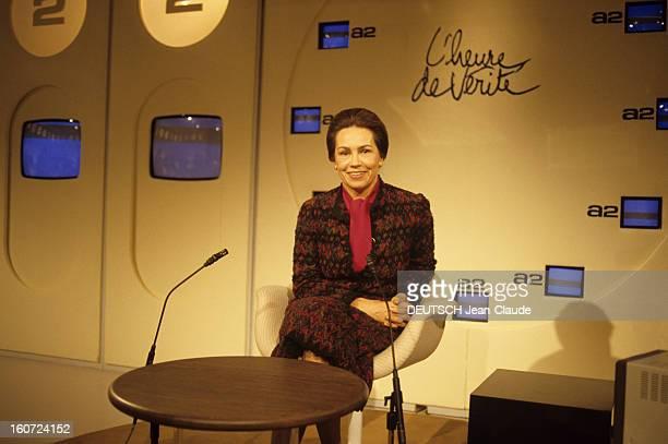 Mariefrance Garaud At The Tv Programme 'L'heure De Vérité' Paris décembre 1985 Portrait de MarieFrance GARAUD participant à l'émission 'L'heure de...