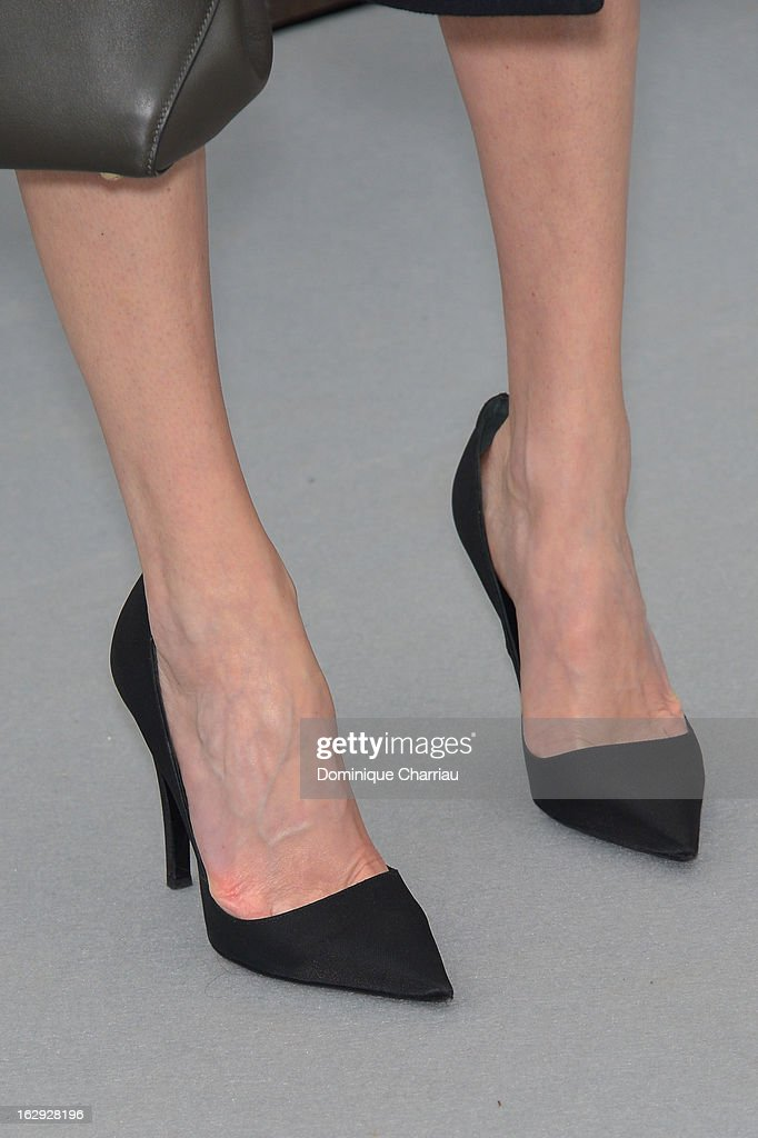 Marie-Josée Croze ( shoe detail ) arrives at the Christian Dior Fall/Winter 2013 Ready-to-Wear show as part of Paris Fashion Week on March 1, 2013 in Paris, France.