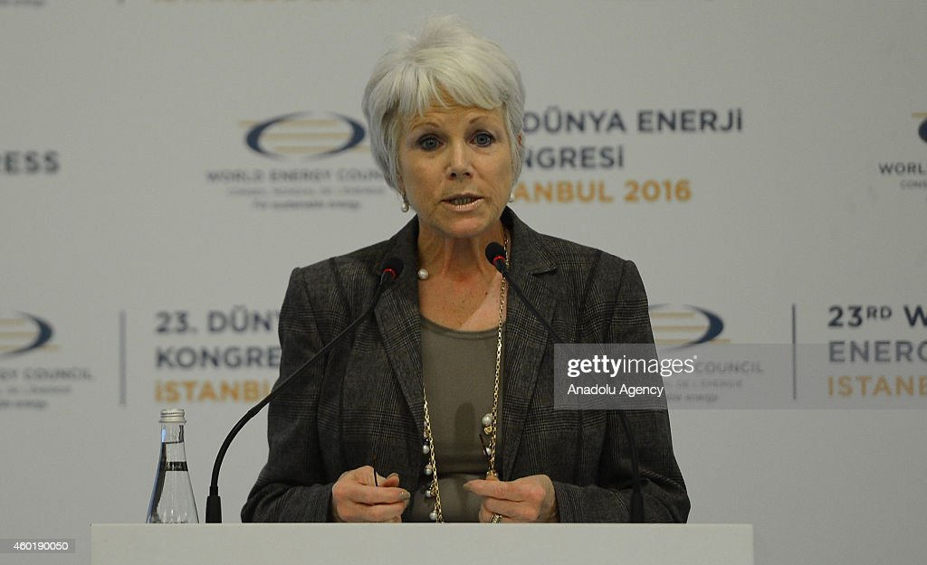 MarieJose Nadeau speaks on December 9 2014 in Ankara Turkey during the 23rd World Energy Congress' signing ceremony of the protocol which will take...