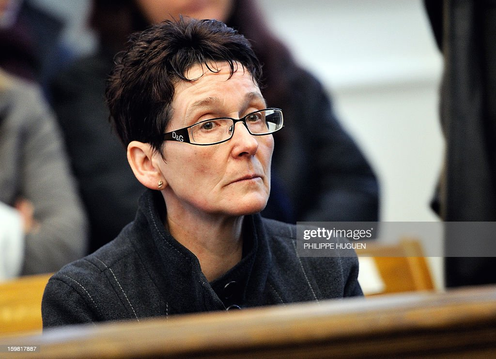 Marie-Jose Taton, the grandmother of Typhaine, attends a hearing at the Douai courthouse, northern France, on January 21, 2013, before the trial of the mother and stepfather of Typhaine, Anne-Sophie Faucheur and Nicolas Willot, in connection with the girl's death. The body of Typhaine was found in December 9, 2009, in a suburb of the southern Belgian city of Charleroi, and Faucheur and Willot finally recognized that she had died at their house on June 10, 2009, and that her body had been buried somewhere in Belgium.