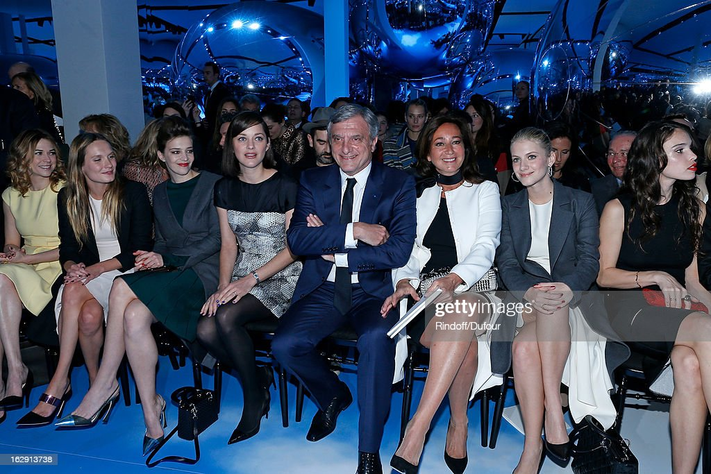 Marie-Josee Croze, Ana Girardot, Celine Sallette, Marion Cotillard, Sidney Toledano, Christian Dior Couture President and CEO, Katia Toledano, Melanie Laurent, and Chelsea Tyler attend the Christian Dior Fall/Winter 2013 Ready-to-Wear show as part of Paris Fashion Week on March 1, 2013 in Paris, France.