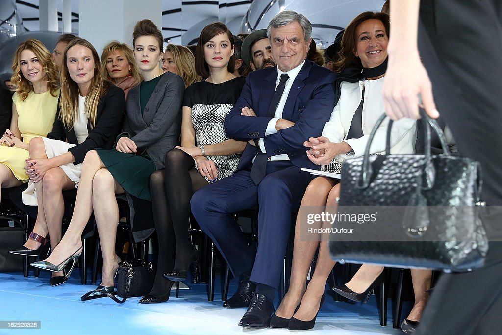 Marie-Josee Croze, Ana Girardot, Celine Sallette, Marion Cotillard, Sidney Toledano, Christian Dior Couture President and CEO and Katia Toledano attend the Christian Dior Fall/Winter 2013 Ready-to-Wear show as part of Paris Fashion Week on March 1, 2013 in Paris, France.