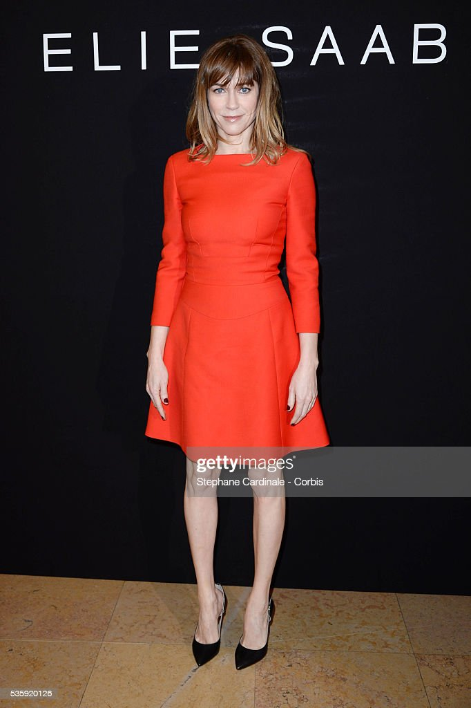 Marie-Josee Croze attends the Elie Saab show as part of Paris Fashion Week Haute Couture Spring/Summer 2014 , at Theatre National de Chaillot, in Paris.