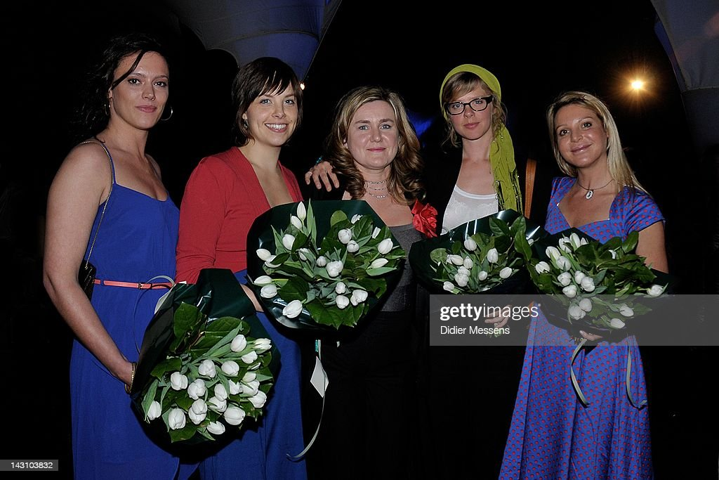 Marieke Dilles, Eline Kuppens, Ilse Somers, Maaike Neuville and Ellen Schoeters attend the Antwerp premiere of 'Weekend At The Sea' (Weekend Aan Zee) at Metropolis on April 18, 2012 in Antwerpen, Belgium.