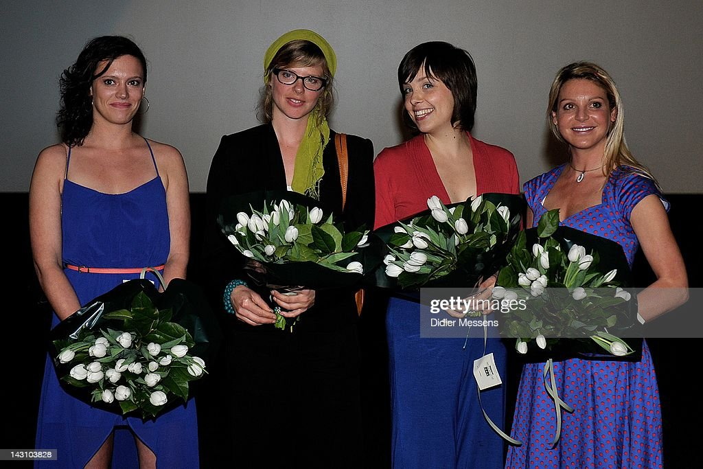 Marieke Dilles, Maaike Neuville, Eline Kuppens and Ellen Schoeters attend the Antwerp premiere of 'Weekend At The Sea' (Weekend Aan Zee) at Metropolis on April 18, 2012 in Antwerpen, Belgium.