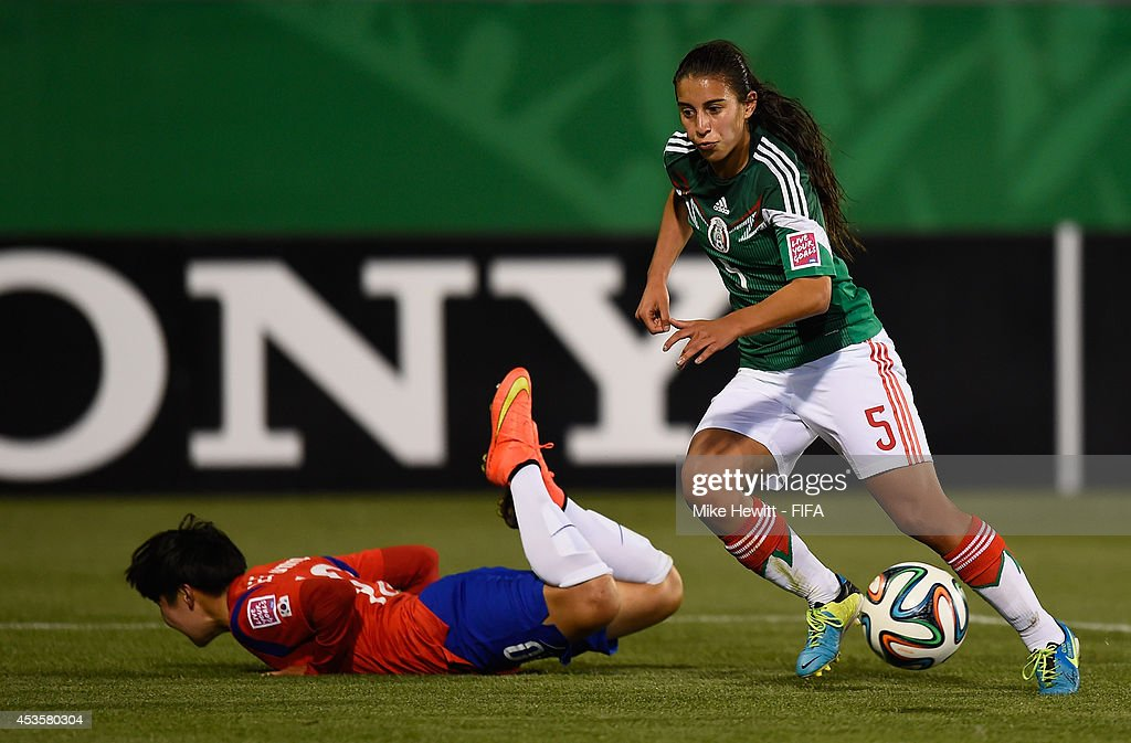 Mariel Gutierrez of Mexico gets the better of Lee Geummin of Korea Republic during the FIFA U-20 Women's World Cup Canada 2014 Group D match between Korea Republic and Mexico at the National Soccer Stadium on August 13, 2014 in Toronto, Canada.