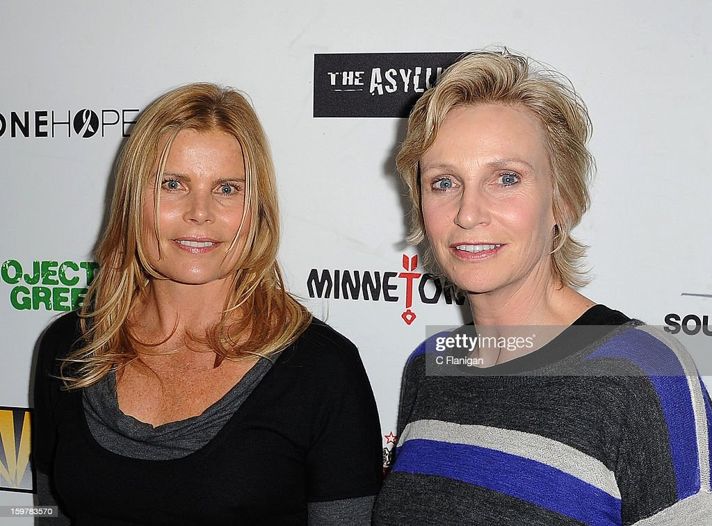 Mariel Hemingway and Jane Lynch arrive at The Creative Coalition Spotlight Initiavtive Awards Gala during the 2013 Sundance Film Festival at The Sky Lodge on January 19, 2013 in Park City, Utah.
