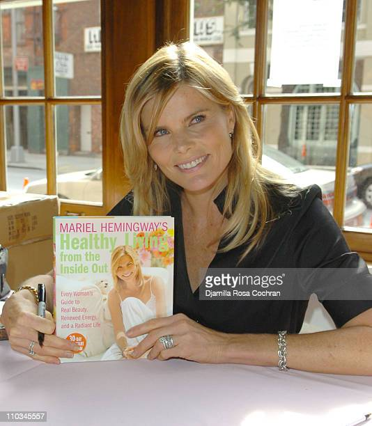 Mariel Hemingway holds a copy of her book at The Ladies Who Launch Live Networking Event at the Altman Building on October 17th 2007 in New York City...