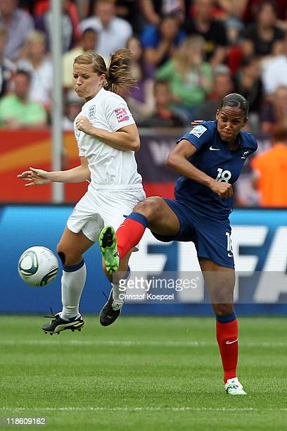 MarieLaure Delie of France challenges Rachel Unitt of England during the FIFA Women's World Cup 2011 Quarter Final match between England and France...