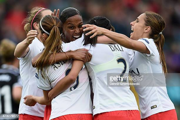 MarieLaure Delie of Paris St Germain celebrates as she heads their first goal during the UEFA Women's Champions League Final between 1 FFC Frankfurt...