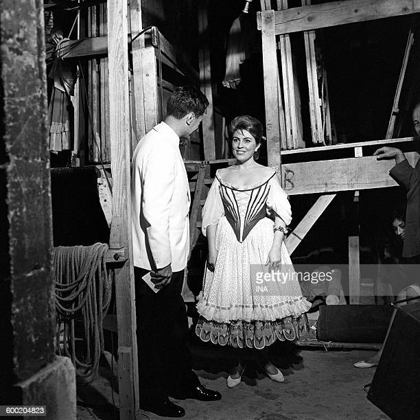 Mariella ADANI beside Georges De Caunes behind the scenes of the Festival of AixenProvence where the singer interprets the opera of Mozart 'Don...