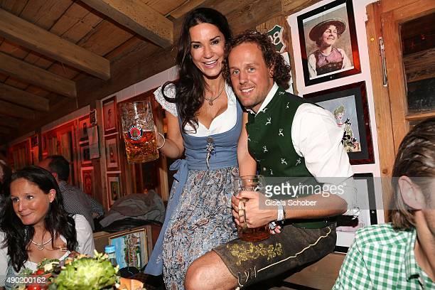 Mariella Ahrens and her boyfriend Marc Sebastian Esser during the Oktoberfest 2015 at Kaeferschaenke at Theresienwiese on September 26 2015 in Munich...