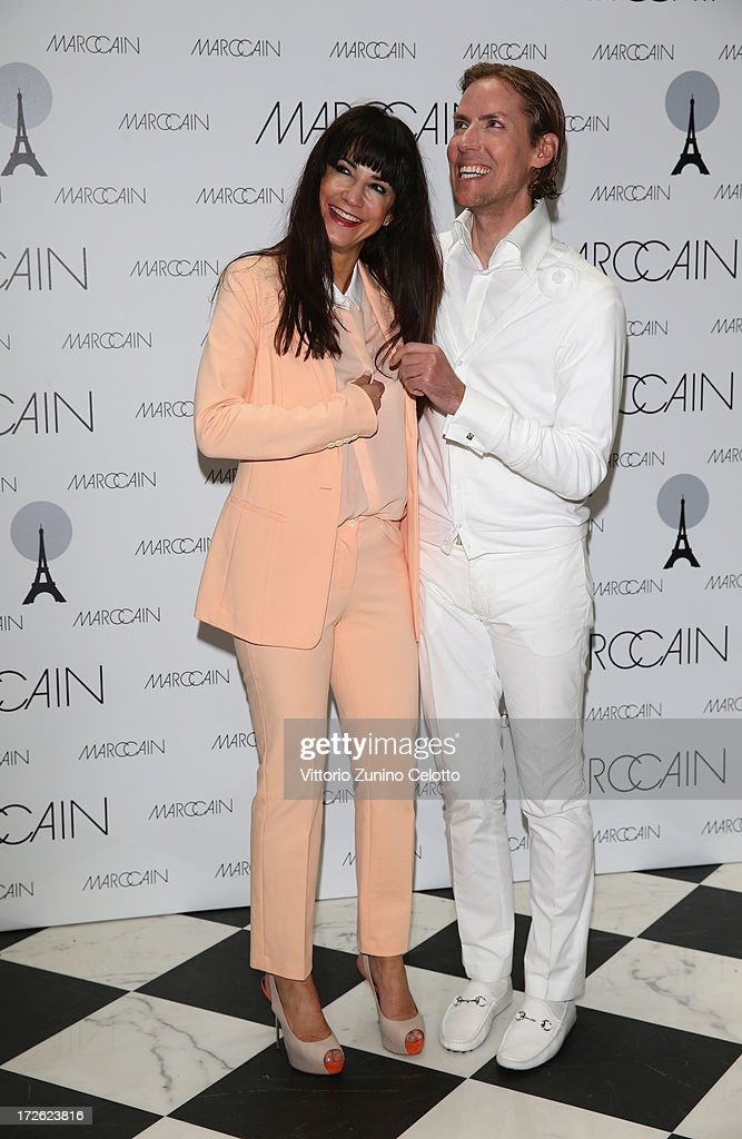 Mariella Ahrens and Jens Hilbert attend the Marc Cain Photocall during the Mercedes-Benz Fashion Week Spring/Summer 2014 at the Hotel Adlon on July 4, 2013 in Berlin, Germany.