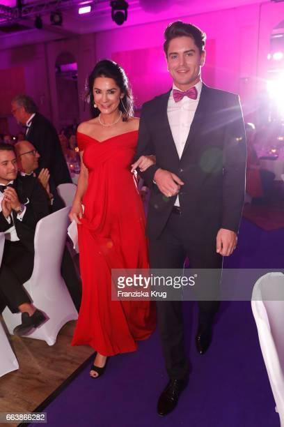 Mariella Ahrens and Mr Germany Dominik Bruntner during the Gloria Deutscher Kosmetikpreis at Hilton Hotel on March 31 2017 in Duesseldorf Germany