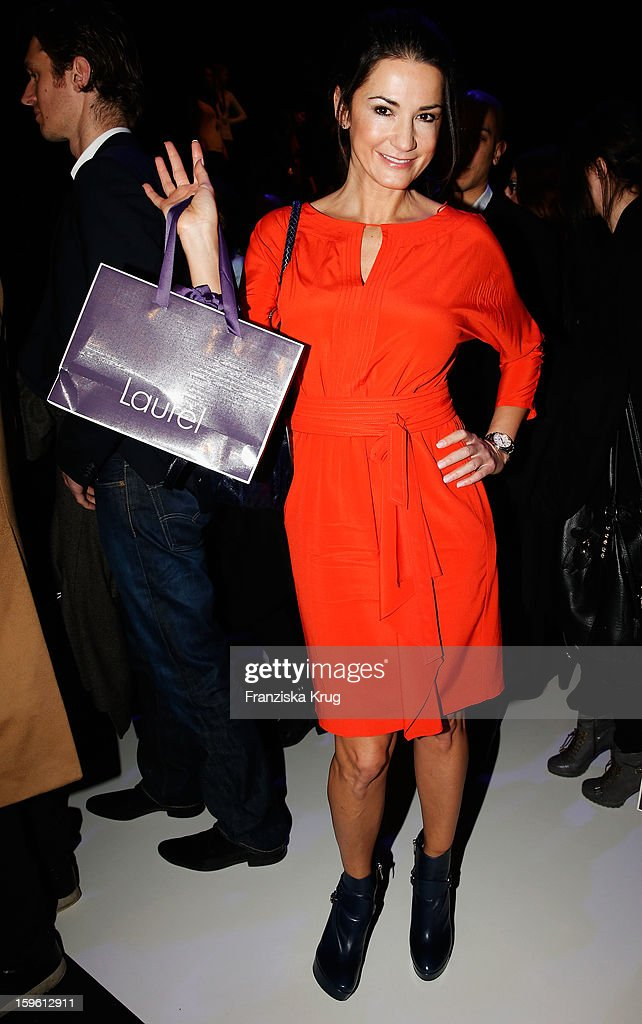 Mariella Ahrens attends the Laurel Autumn/Winter 2013/14 fashion show during Mercedes-Benz Fashion Week Berlin at Brandenburg Gate on January 17, 2013 in Berlin, Germany.