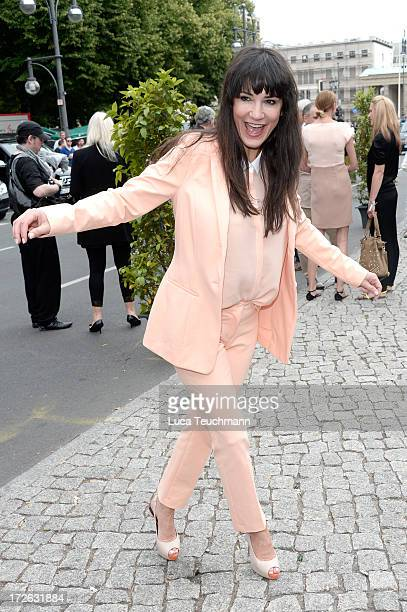 Mariella Ahrens attends the Marc Cain Show during the MercedesBenz Fashion Week Spring/Summer 2014 at Brandenburg Gate on July 4 2013 in Berlin...