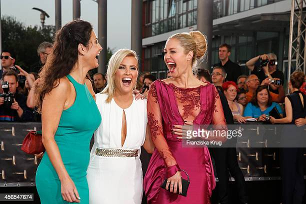 Mariella Ahrens Jennifer Knaeble and Ruth Moschner attend the red carpet of the Deutscher Fernsehpreis 2014 on October 02 2014 in Cologne Germany