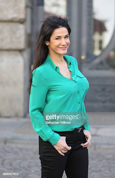 Mariella Ahrens poses during 'Ein Fall von Liebe' set visit on May 7 2014 in Leipzig Germany
