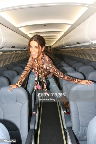 Mariella Ahrens Posing In The Airbus 'Fly Into The Sunshine' Air Berlin media meeting in Hangar 2 In the Event Center Tempelhof Airport in Berlin