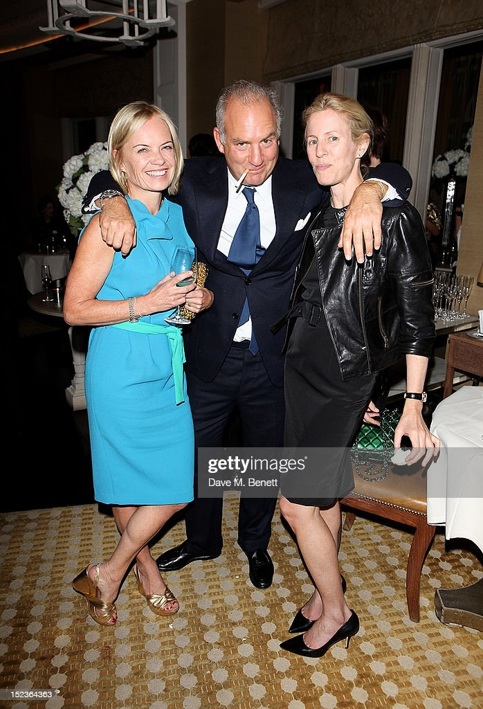 Mariella Frostrup, Charles Finch and Sydney Ingle-Finch attend a cocktail party hosted by new Editor-in-Chief of Harper's Bazaar UK Justine Picardie, Manolo Blahnik and Penelope Tree to celebrate the life of noted columnist and fashion editor Diana Vreeland, following the UK premiere of Diana Vreeland: The Eye Has To Travel, at The Connaught Hotel on September 19, 2012 in London, England.