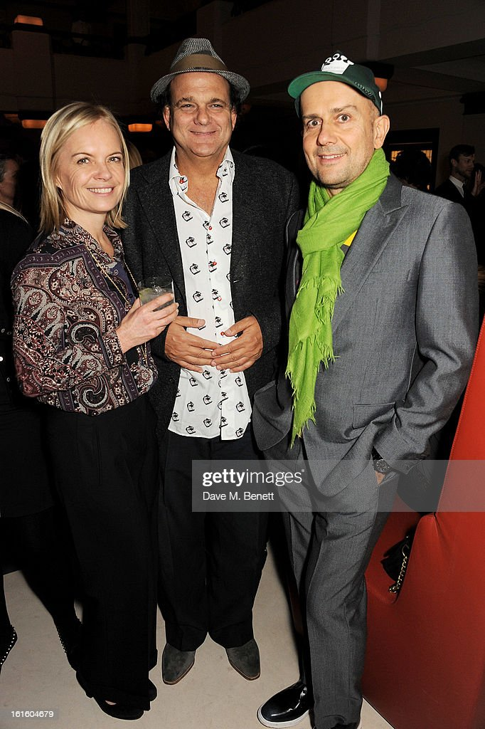 Mariella Frostrup, Gerry Fox and Marc Quinn attend a private dinner hosted by Lucy Yeomans celebrating Jason Brooks at Cafe Royal on February 12, 2013 in London, England.