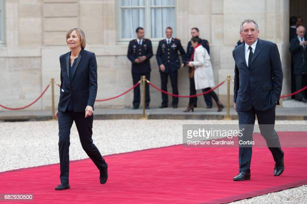 Marielle de Sarnez and Francois Bayrou arrive at the Elysee Palace prior to the handover ceremony for New French President Emmanuel Macron at Elysee...