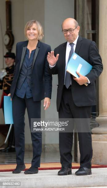 Marielle de Sarnez France's minister for European affairs left and JeanYves Le Drian France's minister for Europe and foreign affairs arrive for a...