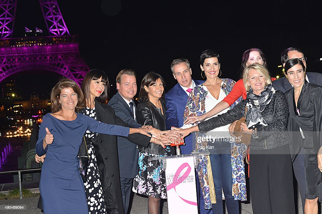 Marielle Fournier, Mathilda May, Estee Lauder France CEO Henk Van Der Mark, Anne Hidalgo, a guest, Cristina Cordula, Frederique Bel, Sophie Davant and Blanca Li attend the 'Octobre Rose 2015' Party To Benefit Breast Cancer Research hosted by Estee Lauder At the Palais National De Chaillot on September 28, 2015 in Paris, France.