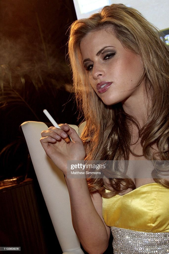 Marielle Jaffe with Smoking Everywhere electronic cigarette at the Smoking Everywhere booth backstage at the NAACP Image Awards at the Shrine Auditorium on February 12, 2009 in Los Angeles, California.