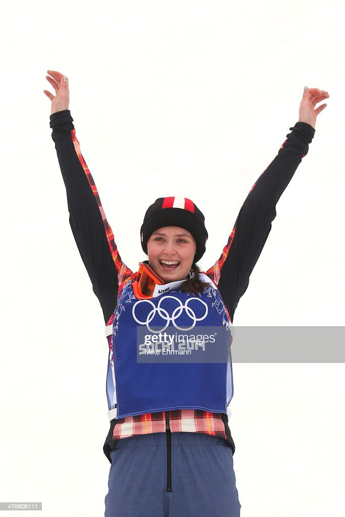 <a gi-track='captionPersonalityLinkClicked' href=/galleries/search?phrase=Marielle+Thompson&family=editorial&specificpeople=7432174 ng-click='$event.stopPropagation()'>Marielle Thompson</a> of Canada celebrates winning the gold medal during the flower ceremony in the Freestyle Skiing Womens' Ski Cross Final on day 14 of the 2014 Winter Olympics at Rosa Khutor Extreme Park on February 21, 2014 in Sochi, Russia.