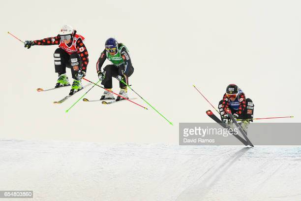 Marielle Thompson of Canada Marie Berger Sabbatel of France and Georgia Simmerling of Canada compete in the Women's Ski Cross small final on day...