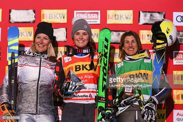 Marielle Thompson of Canada takes 1st place Karolina Riemenzerebecka of Poland takes 2nd place Ophelie David of France takes 3rd place during the FIS...