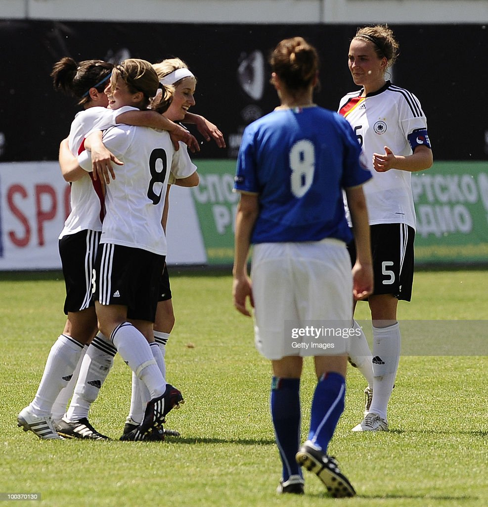 Marie-Louise Bagehorn of Germany celebrates with her team mates after sccoring against Italy during the UEFA Women's Under-19 European Championship group A match between Germany and Italy at Milano Arena on May 24, 2010 in Kumanovo, Macedonia.