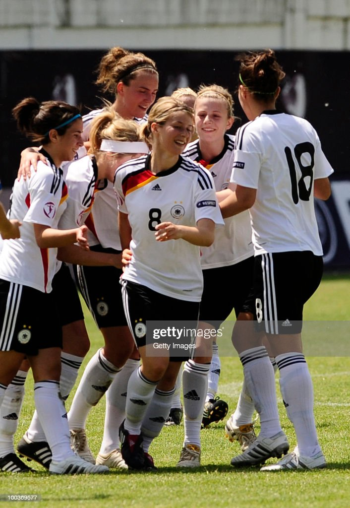 Marie-Louise Bagehorn (# 8) of Germany celebrates with team mates after sccoring against Italy during the UEFA Women's Under-19 European Championship group A match between Germany and Italy at Milano Arena on May 24, 2010 in Kumanovo, Macedonia.