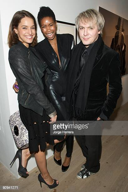 MarieLouise Stoffel Tolula Adeyemi and Nick Rhodes attend the Destroy/Rankin Private View at Phillips de Pury on November 9 2009 in London England