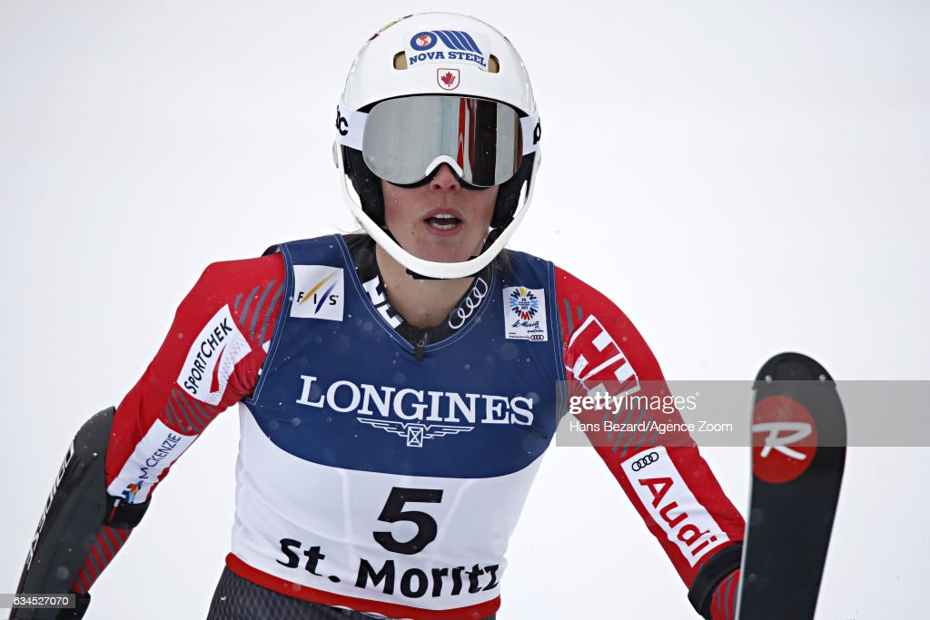 Marie-michele Gagnon of Canada celebrates during the FIS Alpine Ski World Championships Women's Alpine Combined on February 10, 2017 in St. Moritz, Switzerland