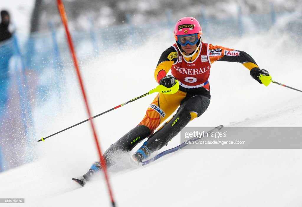 <a gi-track='captionPersonalityLinkClicked' href=/galleries/search?phrase=Marie-Michele+Gagnon&family=editorial&specificpeople=5679129 ng-click='$event.stopPropagation()'>Marie-Michele Gagnon</a> of Canada competes during the Audi FIS Alpine Ski World Cup Women's Slalom on November 10, 2012 in Levi, Finland.