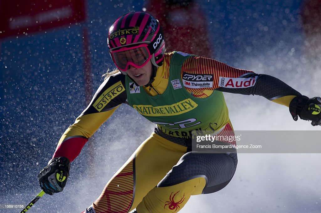<a gi-track='captionPersonalityLinkClicked' href=/galleries/search?phrase=Marie-Michele+Gagnon&family=editorial&specificpeople=5679129 ng-click='$event.stopPropagation()'>Marie-Michele Gagnon</a> of Canada competes during the Audi FIS Alpine Ski World Cup Women's Giant Slalom on November 24, 2012 in Aspen, Colorado.