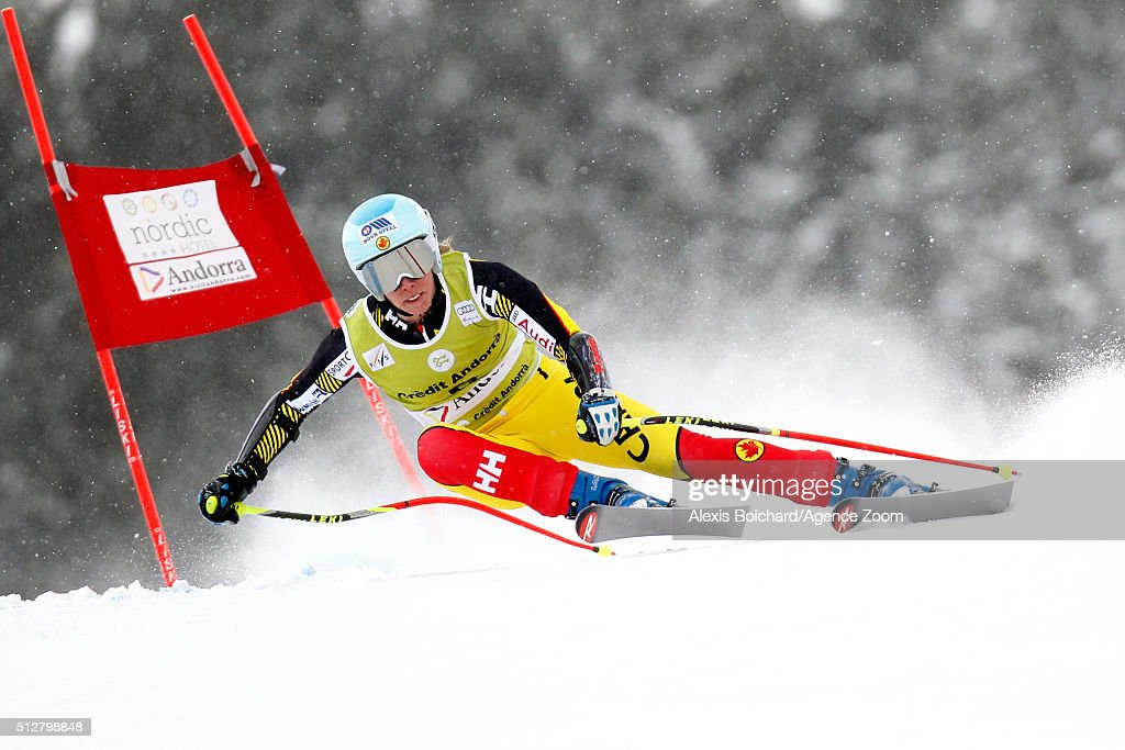 Marie-Michele Gagnon of Canada competes during the Audi FIS Alpine Ski World Cup Women's Super Combined on February 28, 2016 in Soldeu, Andorra.