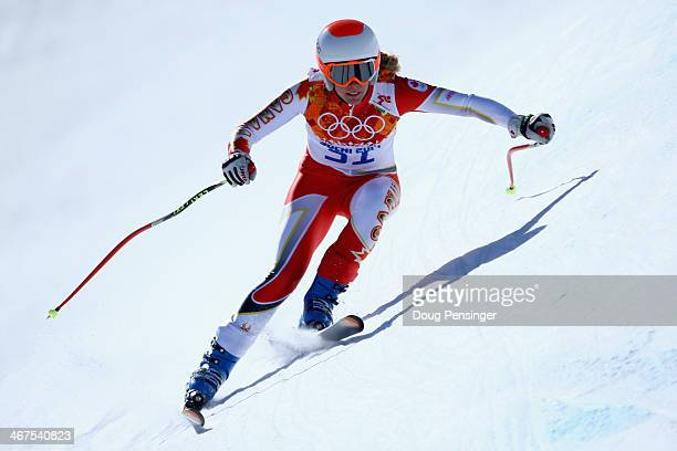 MarieMichele Gagnon of Canada descends the course during training for the Alpine Skiing Women's Downhill ahead of the Sochi 2014 Winter Olympics at...
